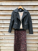 Load image into Gallery viewer, Faux leather biker jacket