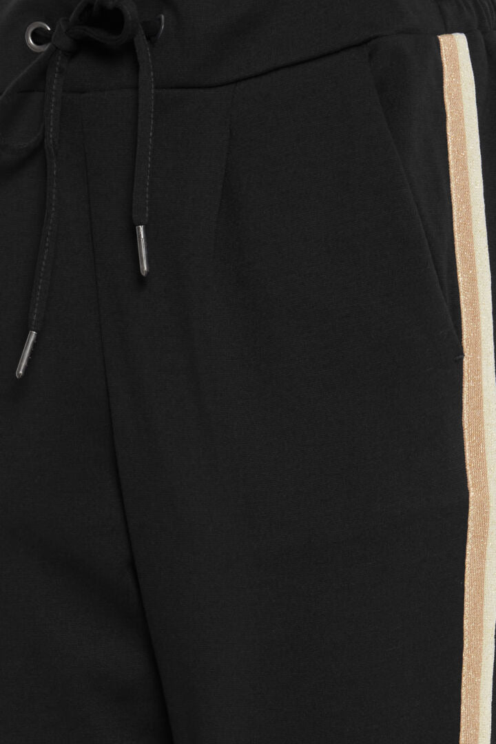 Joggers with side stripe - black