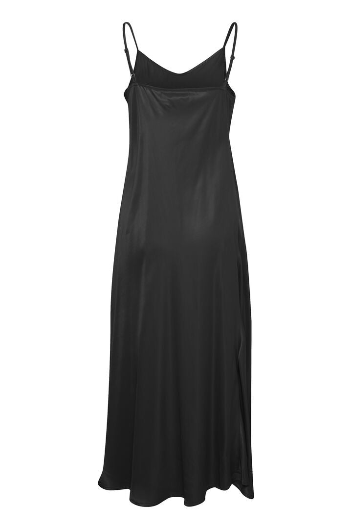 Black silky slip dress