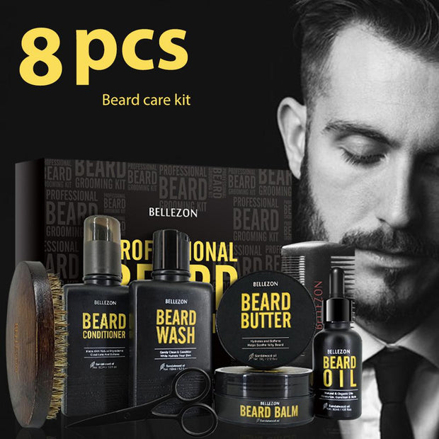 Blue ZOO 8Pcs/set Men Beard Care Kit