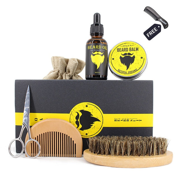 New 6pcs/set Men Beard Kit Grooming Beard Set Barba Beard Oil Moisturizing Wax Blam Comb Essence Styling Hair Men Beard Kit Set