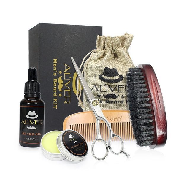 ALIVER 7pcs/set Men Beard Kit Styling Tool