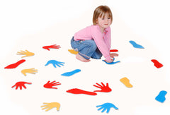 Hands and Feet - Shape Matching Tiles - colourful and made from felt.