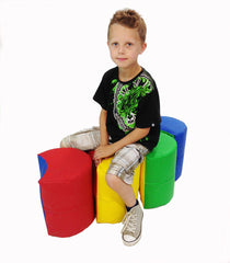 Interlocking Soft Play Barrel Seats - colourful ideal for a reading corner.