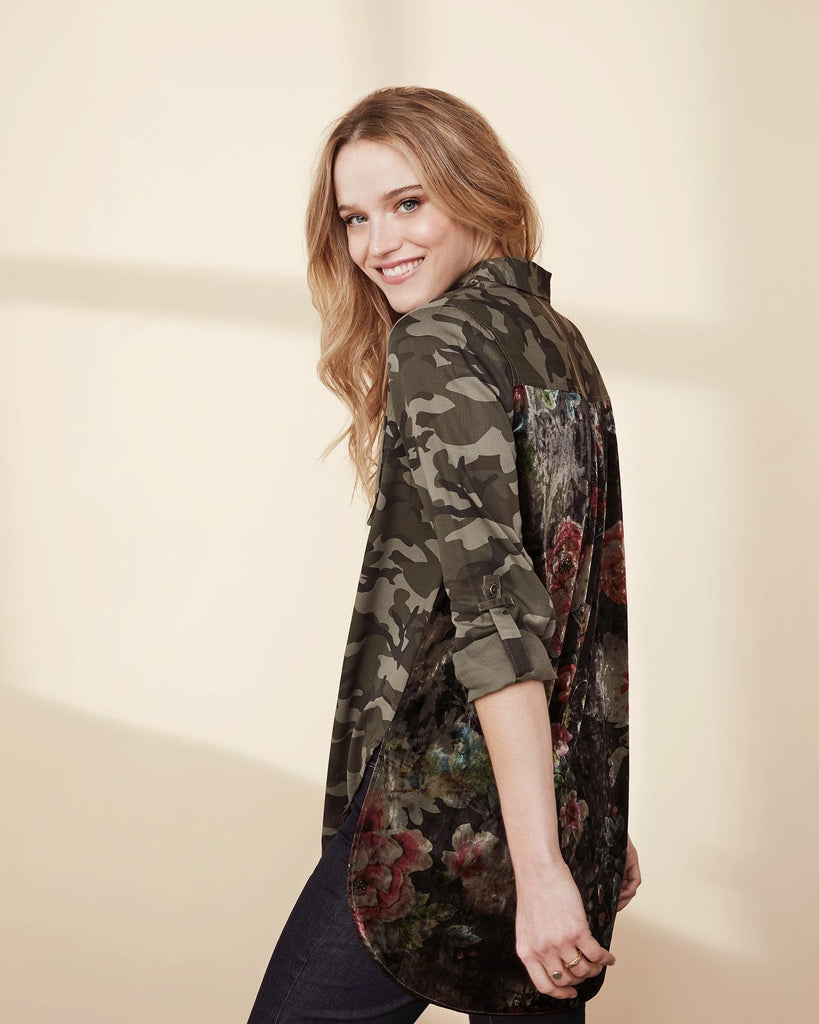 Tribal Camo Shirt with Velvet Back