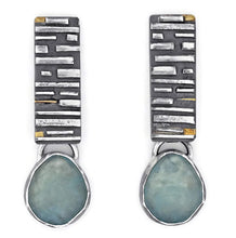 Load image into Gallery viewer, Fused silver and aquamarine earrings by Jen Lesea Designs