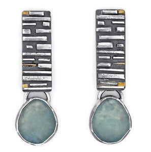 Fused silver and aquamarine earrings by Jen Lesea Designs