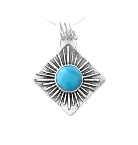 Fused sterling silver and Larimar Pendant by Jen Lesea Designs