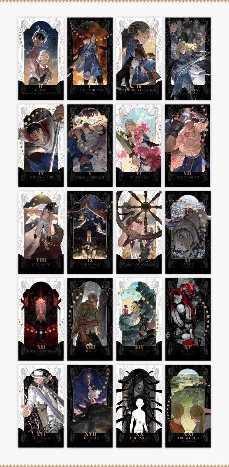 "Fullmetal Alchemist ""The Whirling Ways of Stars that Pass"" Large Arcana Tarot Cards"