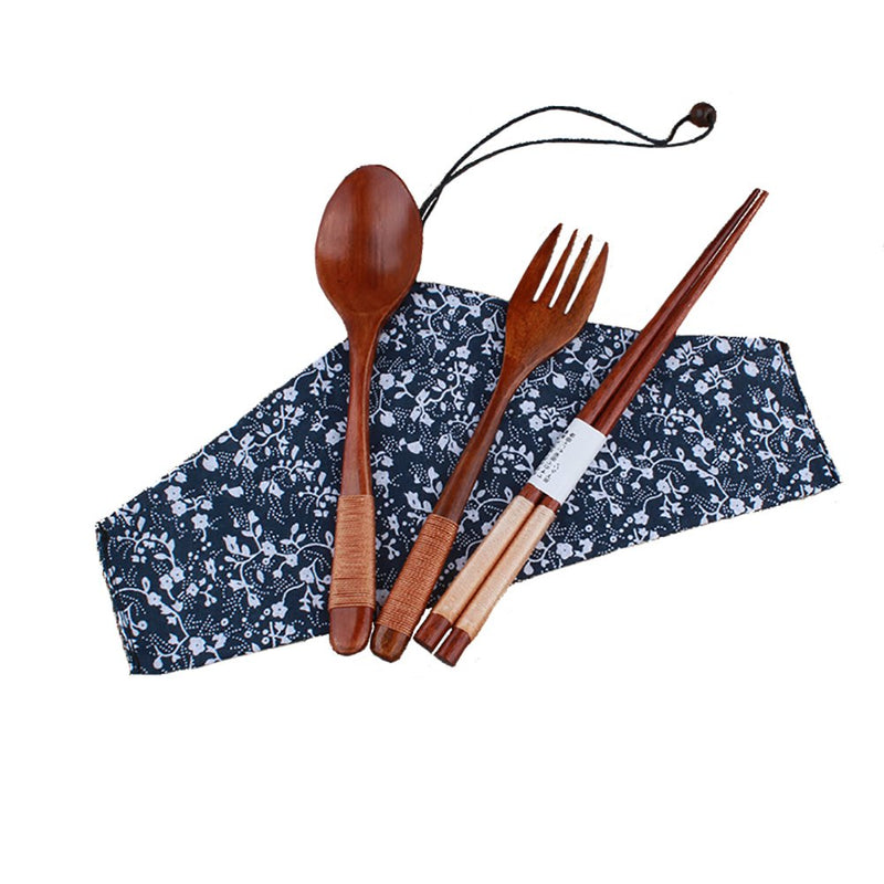 Wood Cutlery Set with Bag