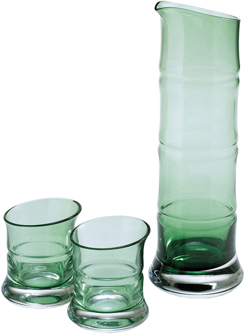 Bamboo Glass 3 piece Sake Set