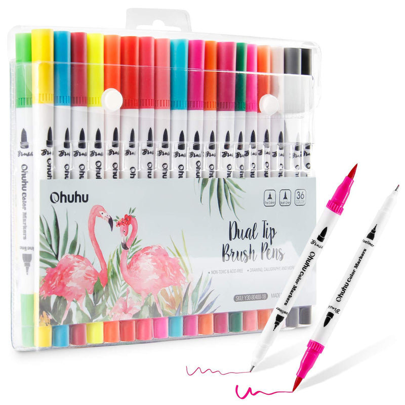Ohuhu Watercolor Water-Based 36 Colors Markers/Pen Set