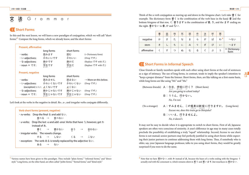 Genki 1: An Integrated Course in Elementary Japanese Third Edition Page 190-191