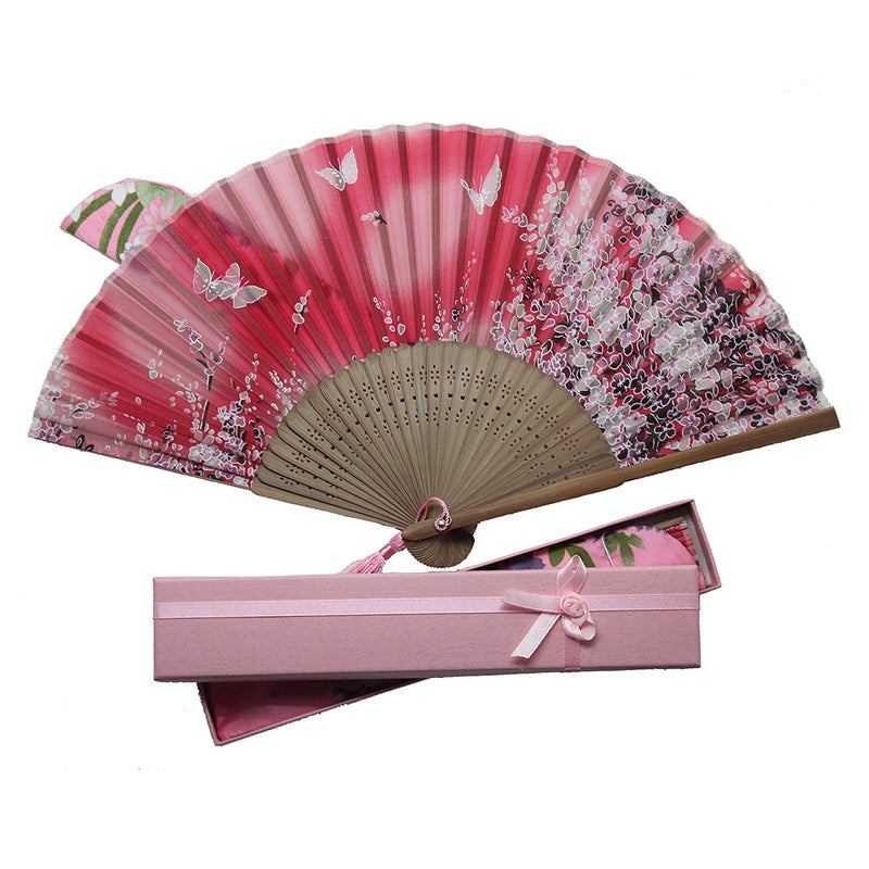 Japanese Silk and Bamboo Fan (Multiple colors and styles)
