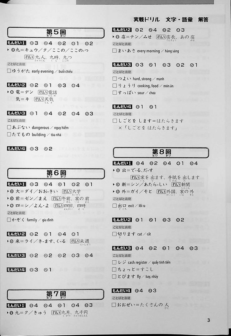 JLPT Chokuzen Taisaku: Drill and Mock Test N5 Page 3