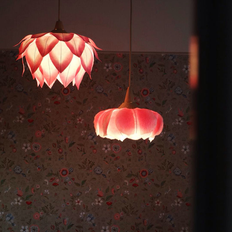 Hanging Rose Flower Lanterns by Sachie Muramatsu (Pink, Red, Yellow, Blue)