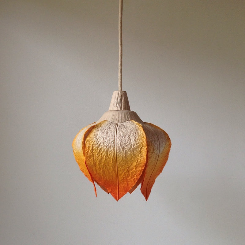 Hanging Flower Bud Lantern by Sachie Muramatsu (Orange, Ruby Red)