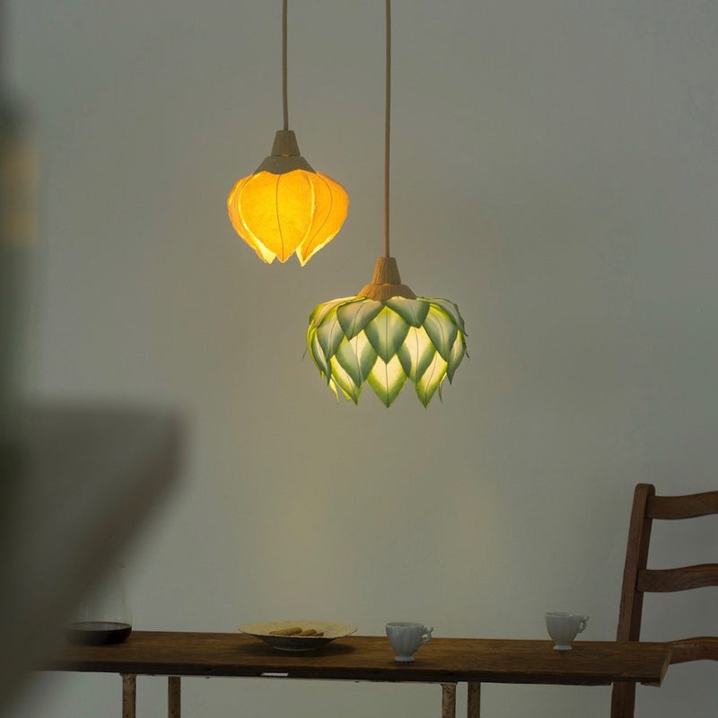 Hanging Forest Flower Lanterns by Sachie Muramatsu (Moss Green, Yellow)