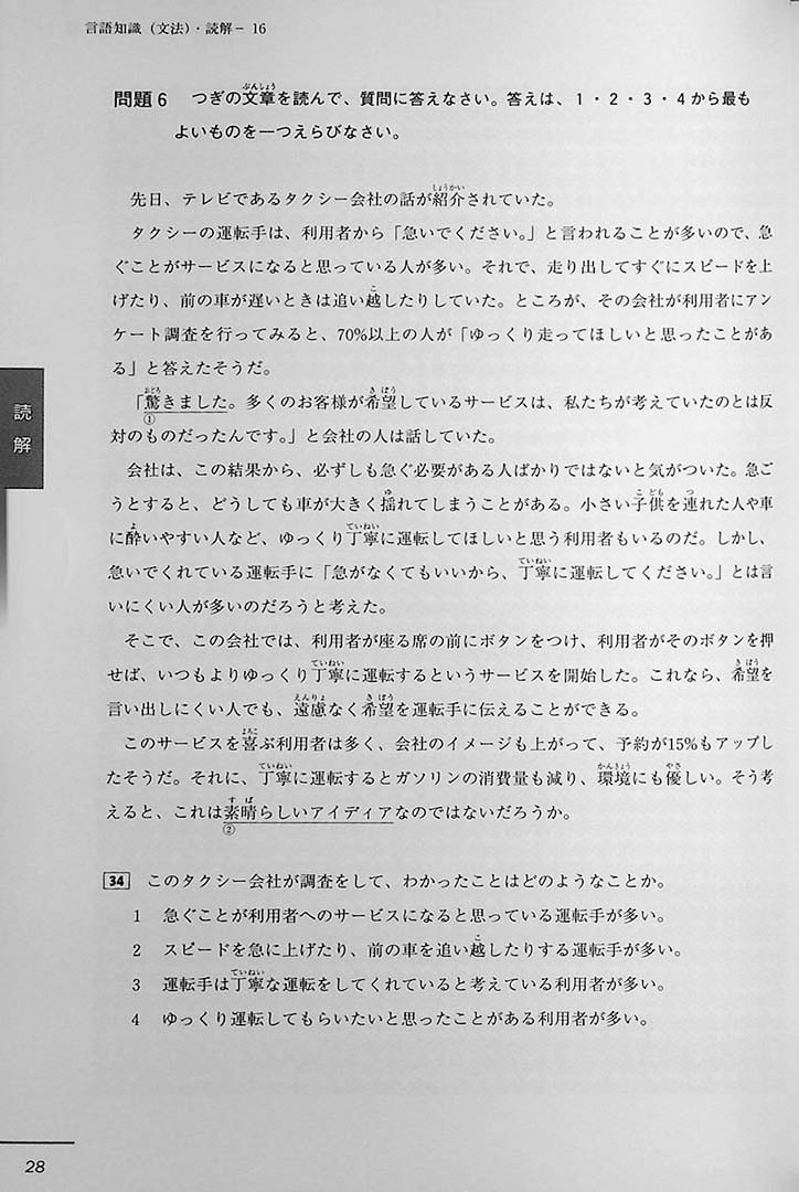 JLPT Official Practice Guide N3 Volume 2 Page 28