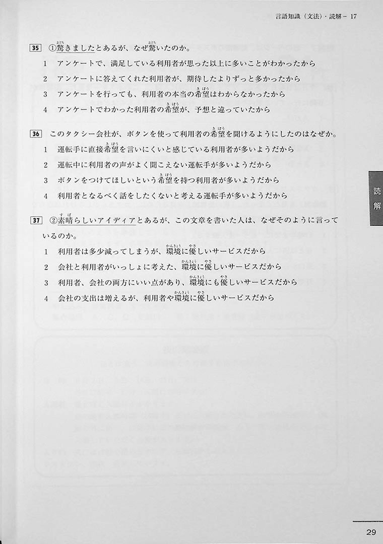 JLPT Official Practice Guide N3 Volume 2 Page 29