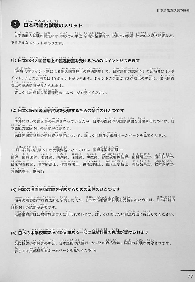 JLPT Official Practice Guide N3 Volume 2 Page 73