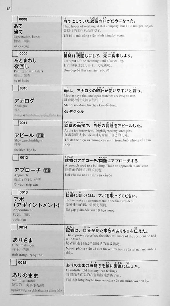 New Kanzen Master Vocabulary JLPT N1 2200 Words Page 12