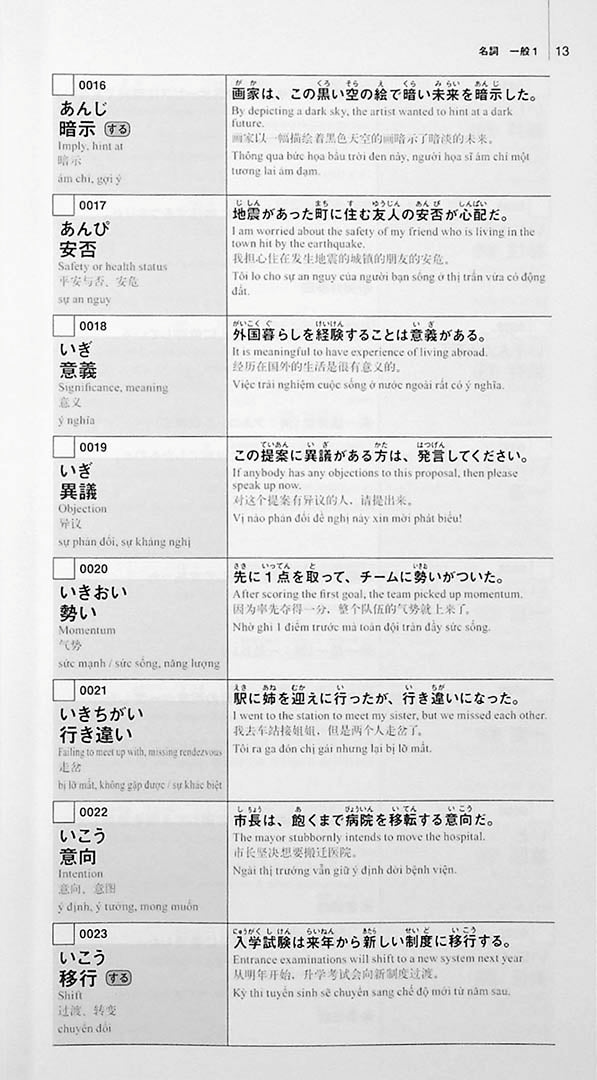 New Kanzen Master Vocabulary JLPT N1 2200 Words Page 13