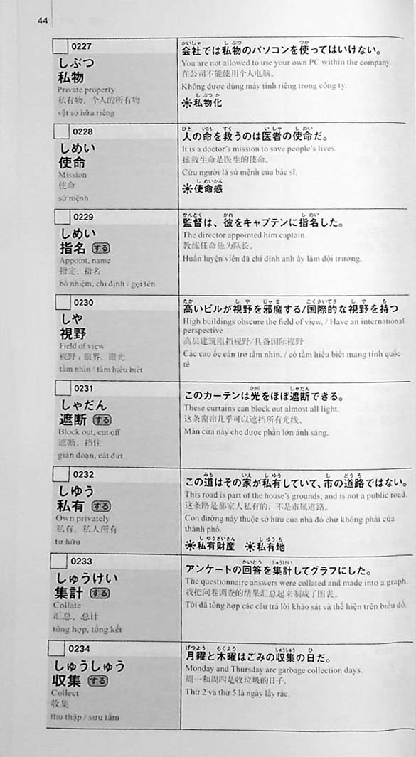New Kanzen Master Vocabulary JLPT N1 2200 Words Page 44