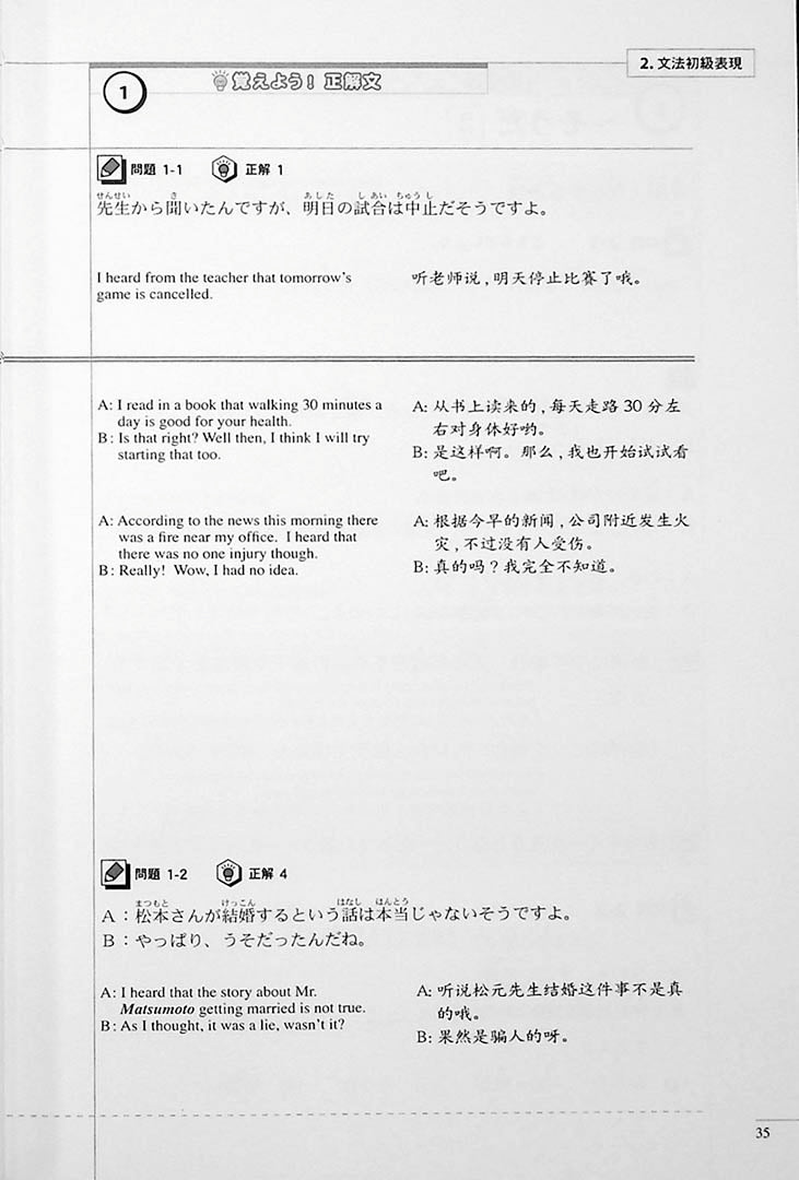 The Preparatory Course for the JLPT N3 Grammar Page 35