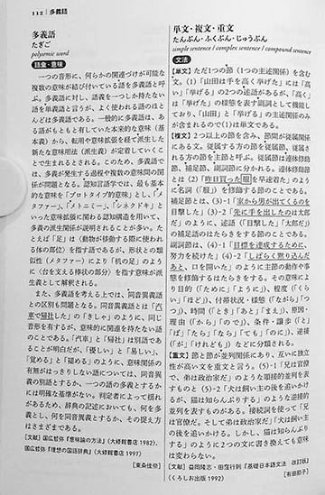 The Sanseido Dictionary of Japanese Linguistics Page 111
