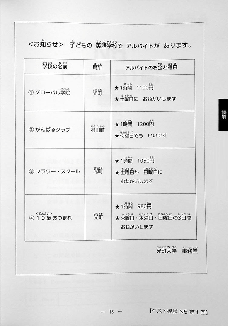 The Best Practice Tests for the Japanese Language Proficiency Test N5 Page 15