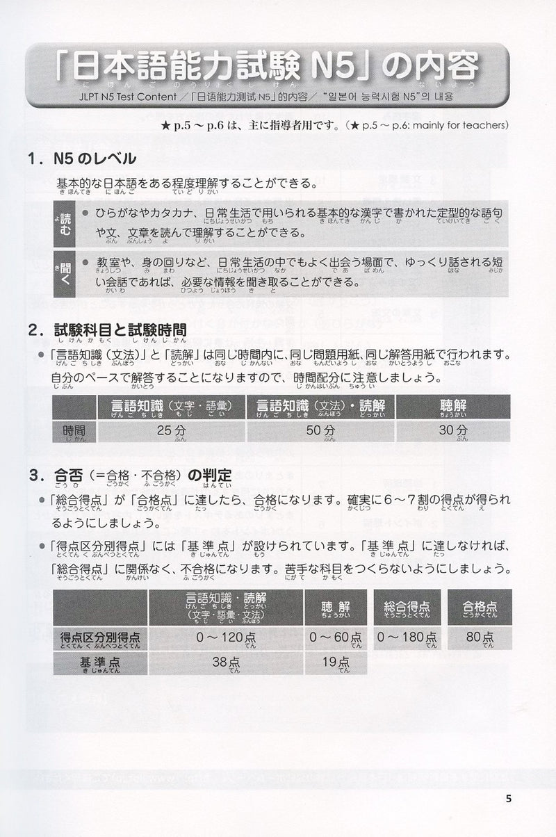 Japanese Language Proficiency Test N5 - Complete Mock Exams - White Rabbit Japan Shop - 3