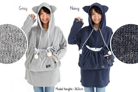 Dekapokke Mewgaroo Hoodie with Big Pet Pouch - White Rabbit Japan Shop - 1