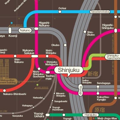 Tokyo Railway Map - 610 x 880 mm - White Rabbit Japan Shop - 1