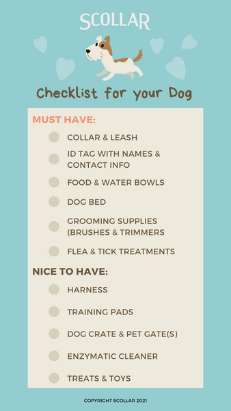pet supplies checklist for dogs