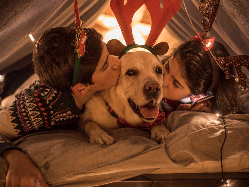 golden labrador laying between two kids who are kissing him in dim light
