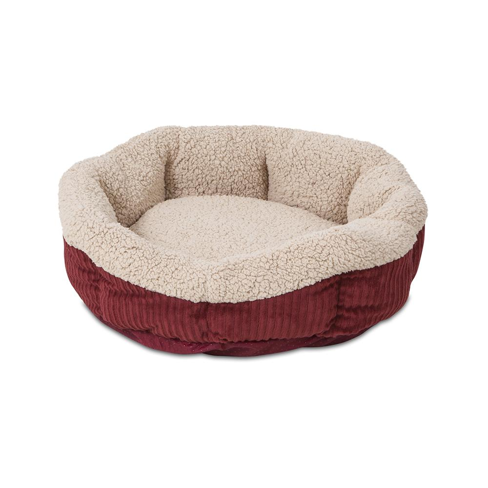 ASPEN PET® SELF-WARMING OVAL LOUNGER BARN RED/CREAM COLOR at Scollar personalized pet marketplace