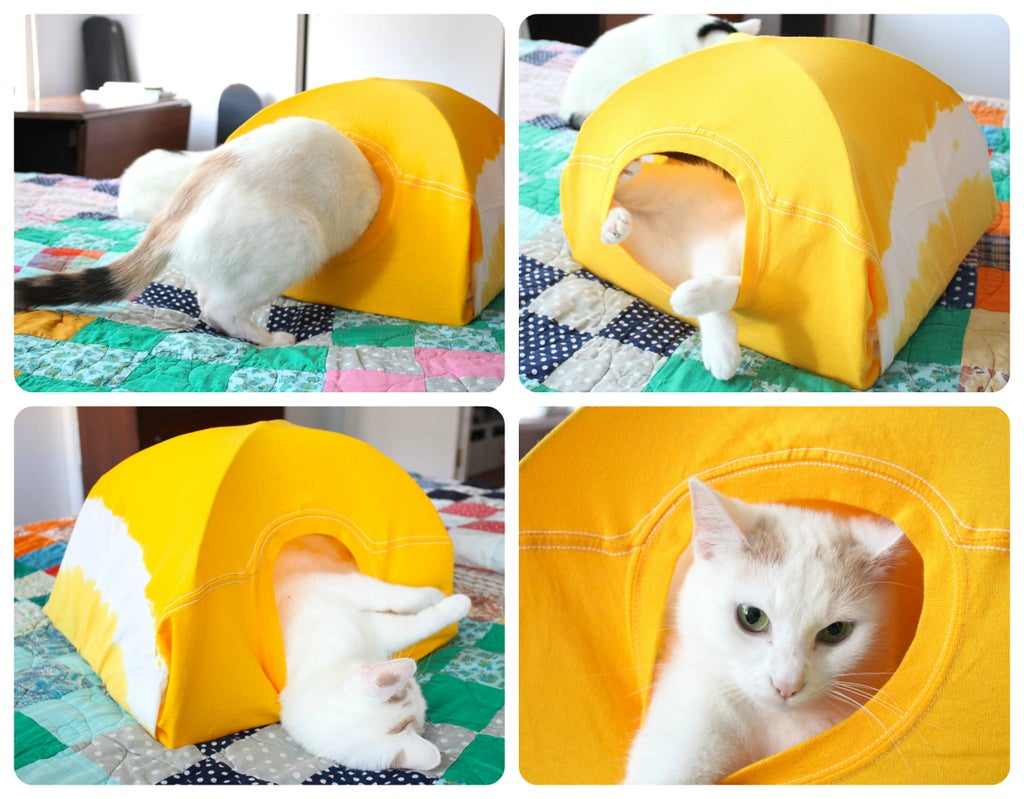 quartet of pictures of a yellow do it yourself cat tent with a white cat in it