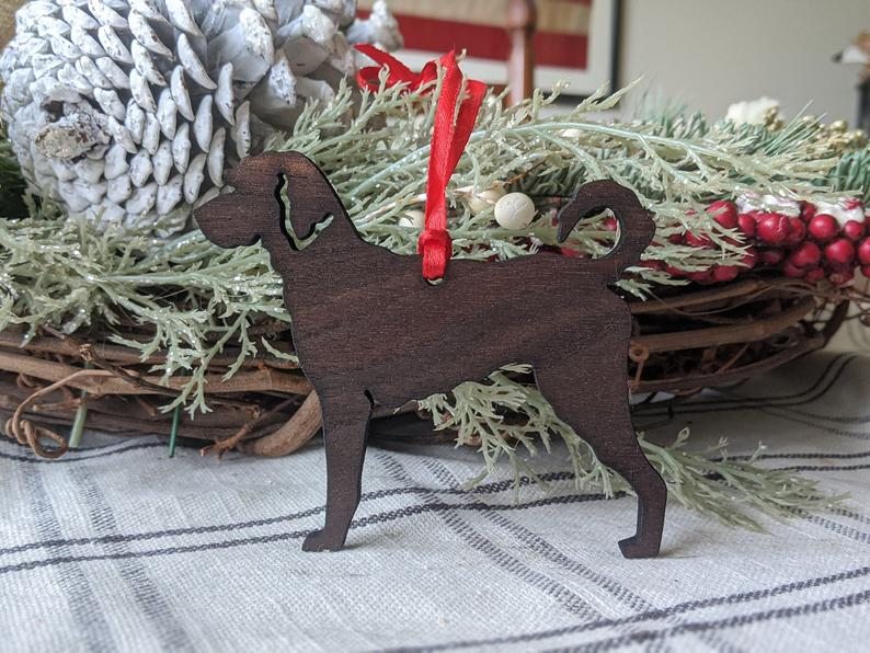 Labradoodle wooden tree ornament at Houndworks on Etsy