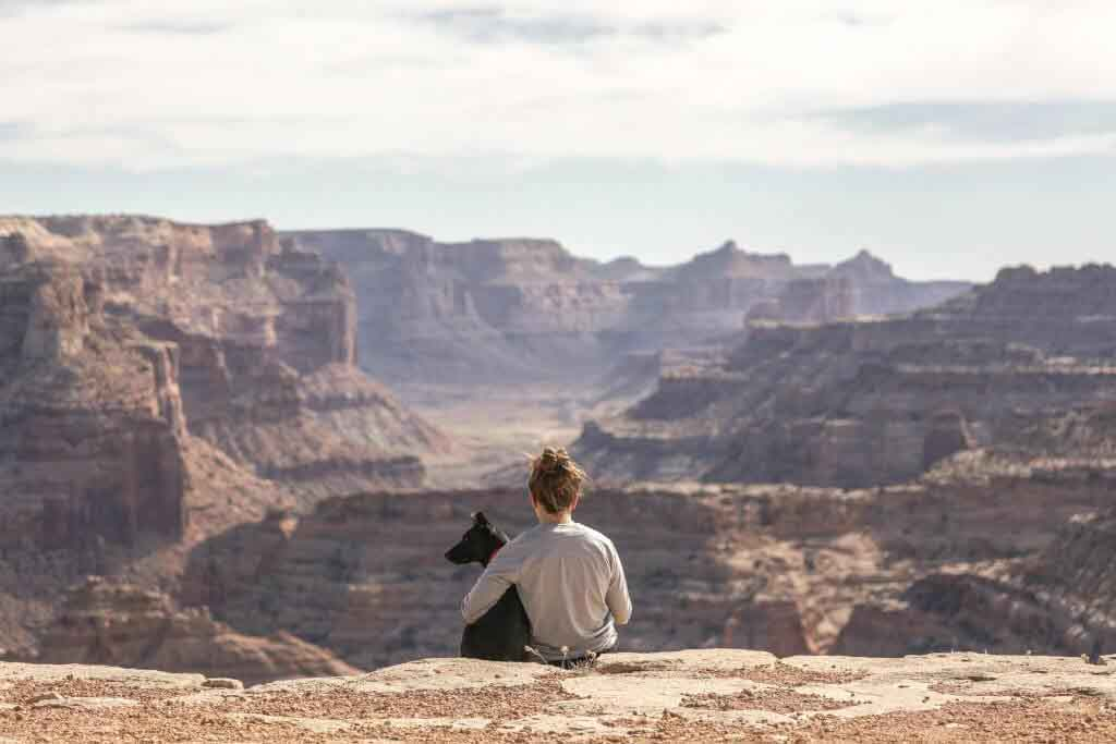 person and dog sitting at the edge of a large canyon