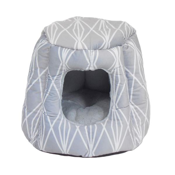 SLEEPY PET™ JASPER HIDE & SLEEP DOME CAT BED MOLA PRINT GREY at the Scollar personalized pet marketplace