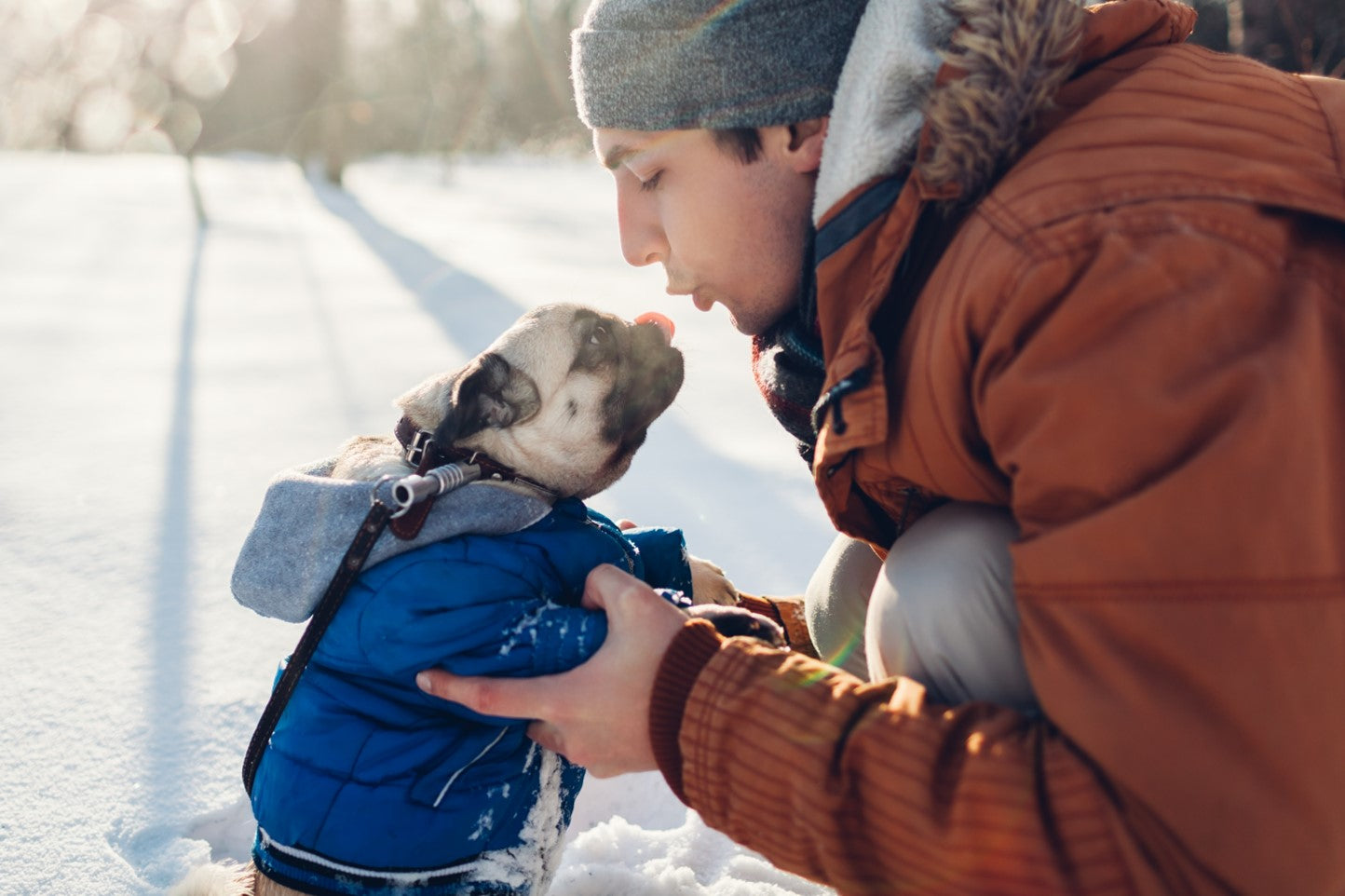 man in brown jacket leaning down to kiss a pug in a blue snow coat