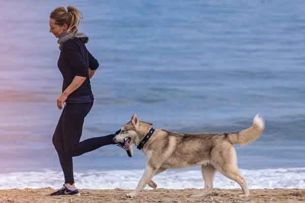 woman in black jog suit running on beach with dog