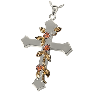 Rose Vine Urn Cross Pendant