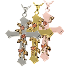 Load image into Gallery viewer, Rose Vine Urn Cross Pendant