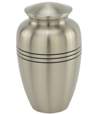 Three Bands Pewter Brass Urn