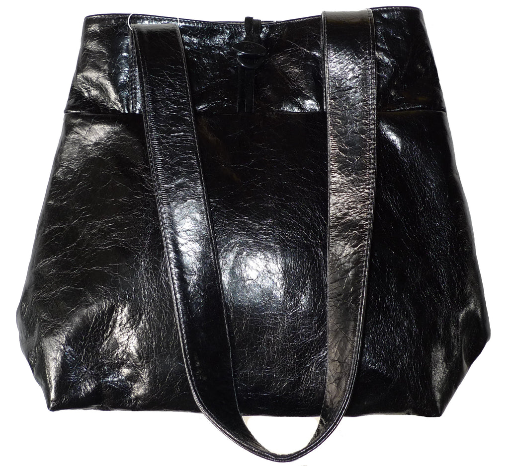 Italian leather Coal mini expandable tote