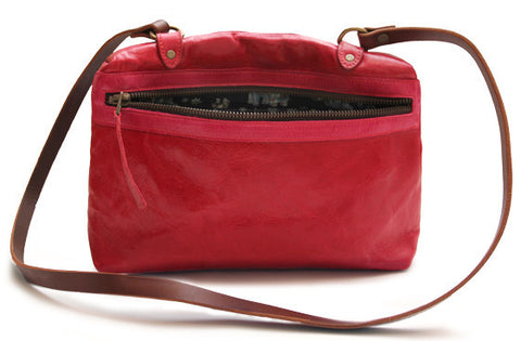 Leather side zip bag