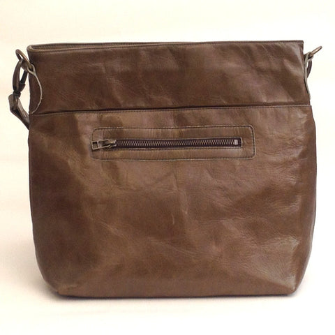 Italian leather Olive zip tote