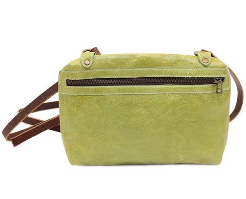 Italian leather Lime side zip bag